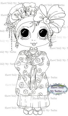INSTANT DOWNLOAD Digital Digi Stamps Big Eye Big Head Dolls Bestie New Bestie…