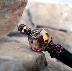 Purple Japanese Hair Stick Faceted Glass Crystal with Red Copper Accents Kanzashi Hair Pins Hair Chopsticks Haarstab- Stefania by Hairjems on Etsy