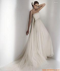strapless beads a-line Wedding Dress  Pisces
