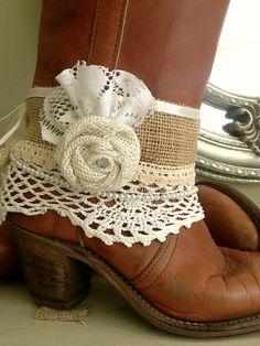 Rustic Woodland Wedding Bridal Boot Cuff Cow Girl by FarmHouseFare
