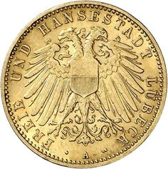 Lübeck, 10 Mark 1909, the very scarce gold coin in excellent condition. An almost always missing issue in outstanding quality! (Jäger-no. 22...