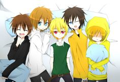 Anime Creepypasta (Left to right). 1)Eyeless Jack 2)Jeff the Killer 3)BEN Drowned 4)Masky 5)Hoodie