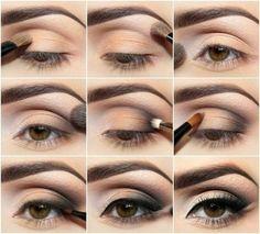 tutoriel pour le maquillge élégant des yeux marrons