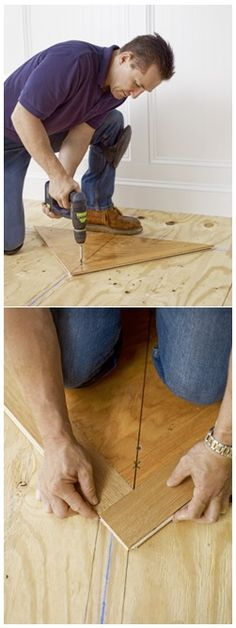 Make a right triangle from the corner of ¾ inch plywood to use as a nailing blank to establish the herringbone pattern of your slats.