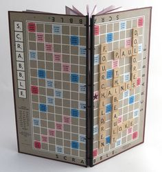 journal made from Scrabble board and tiles