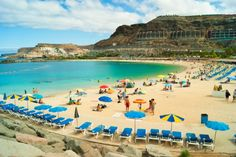 Puerto Rico beach is situated in the resort in the municipality of Mogan in Gran Canaria in the Canary Islands, Spain
