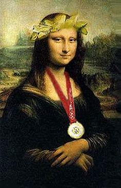 Mona Lisa with Olympic Medal, pop art. Mona Lisa Smile, La Madone, Mona Lisa Parody, Art Jokes, Old Movie Posters, Classic Artwork, Famous Artwork, Many Faces, Classical Art