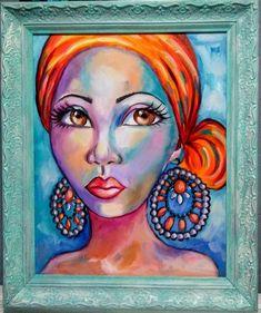 Yvette Andino Art, oil, woman with scarf, African girl vintage frame African Girl, African Beauty, Painting Of Girl, Girl Paintings, Original Art, Original Paintings, Rooster Painting, Boho Girl, Fantasy Paintings