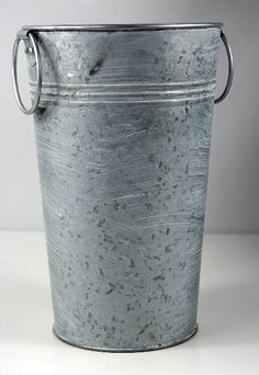 """8.5""""   Flower   Buckets White Washed Galvanized w/ handles $5.99 each / 6 for $5 each"""