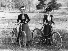 Victorian Women Bicycle Riders 1890s Bicycles Two Ladies Girl Friends Fancy…