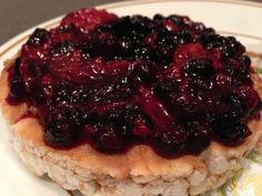 """❝Brown Rice Cakes Topped With """"A Loving Spoon"""" Nut Butters & Some Frozen Berries - Microwaved, Mashed, With A Bit Of Stevia. Snack Recipes, Snacks, Chaat, Rice Cakes, Cake Toppings, Brown Rice, Stevia, Spoon, Waffles"""