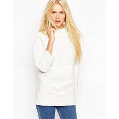 ASOS Sweater in Ripple Stitch with Turtleneck featuring polyvore, fashion, clothing, tops, sweaters, white, turtleneck sweater, oversized turtleneck sweater, oversized turtleneck, white top and oversized white sweater