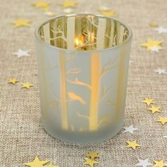 'Frosty Trees' - beautiful tea-light glass, perfect for the Christmas table.