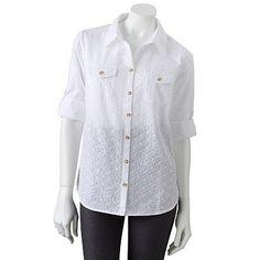 Croft and Barrow Eyelet Button-Tab Shirt