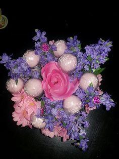 Cake Pops flower arrangement for birthday....with rings hidden for the girls