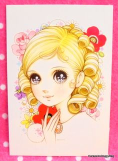 Retro Japanese Fancy Goods : Retro Shojo Girl Postcard - Kawaii Girl - Melody : Macoto Takahashi (HarapekoDoggyBag) Tags: japanese kawaii cute retro seventies 70s showaperiod shoujo macototakahashi makoto illustration japan anime manga shojo girly art artwork asian drawing print girl cartoon collection lolita fashion gothic picture ribbon dress rose classic flower floral animation exhibition fairytale princess himesama macoto makototakahashi pretty comics retrogirl shojogirl shoujogirl…