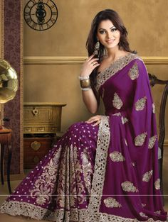 Another beautiful purple pure georgette saree - beautifully designed with aari sequence and stone embroidery with cutwork border all over. So beautiful!!!