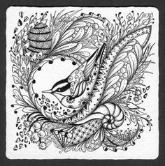 Photo Gallery: Zentangles » Zentangle Tiles » Nuthatch Tangle 2