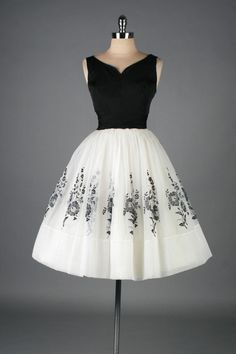 Vintage 1950's White Chiffon Flocked Floral Cocktail Dress | From a collection of rare vintage evening dresses at http://www.1stdibs.com/fashion/clothing/evening-dresses/