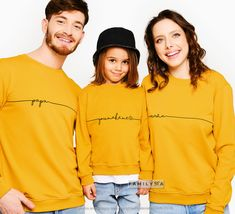 Matching Family Sweatshirts, Mustard Sweatshirts, Matching Family Set, Mama Sweatshirt, Mothers Day Gift, Matching Family Outfit, Mom Gift Couple Outfits, Matching Family Outfits, Family Christmas Outfits, Couple Pajamas, Matching Sweaters, Family Set, Matches Fashion, Mommy And Me