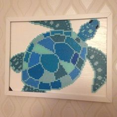 Framed turtle in shades of blue and turquoise perler bead art by thebeadspriteking
