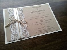 SAMPLE Personalised Handmade Vintage Chic Lace Wedding Invitation