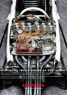 Honda's original 1.5 liter transverse V10 for Formula One. This was the most powerful engine of the 1.5 liter era.