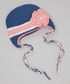 Another great find on #zulily! Blue & Pink Flower Crocheted Earflap Beanie by chéri by Bébé Oh La La #zulilyfinds