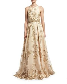Jovani | Natural Sleeveless Embroidered Cutout-back Gown | Lyst