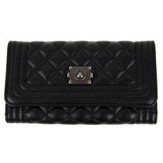 Prošívaná dámská peněženka DF030 černá