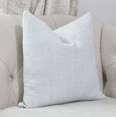 Sky Blue Pillow - Light Blue Woven Stripe Pillow Cover - Cotan & Towt Throw Pillow - Designer Pastel Blue Pillow - Motif Pillows