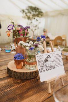 Wild Flowers Bottles Log Slice Centrepiece Decor Tables Crafty Botanical Natural Wedding http://www.jacksonandcophotography.com/