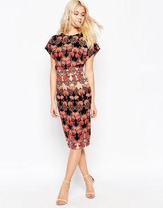 ASOS Wiggle Dress in Vintage Floral Print