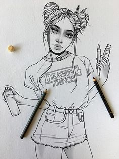 New illustrations, sketches and original art work by Rik Lee — Rik Lee Neue Illustrationen, Skizzen Tumblr Girl Drawing, Girl Drawing Sketches, Tumblr Drawings, Cute Girl Drawing, Cool Art Drawings, Pencil Art Drawings, Illustration Sketches, Art Illustrations, Cute Drawings Of Girls