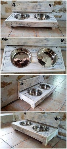 No doubt that dog food bowl framing has always remained an ideal option when it comes off with the creation of wood pallet for the dog pet. You can arrange the wood in a simple concept the food feeder frame that would bring a complete different look.
