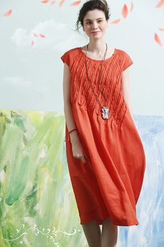 Hey, I found this really awesome Etsy listing at https://www.etsy.com/listing/267720612/linen-dress-in-orange-tunic-dress-midi