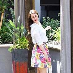 Sewing tutorial DIY for a super easy floral summer skirt