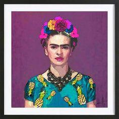 "Oriana Cordero ""Trendy Frida Kahlo"" Purple Teal Birchwood Wall Art from KESS InHouse Art Mural, Wall Art, Framed Art Prints, Painting Prints, Canvas Prints, Watercolor Paintings, Frida Y Diego Rivera, Kahlo Paintings, Dibujo"