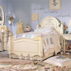 Lea Jessica McClintock Romance Kids Antique White Wood Panel Bed 5 Piece Bedroom Set - 203-PB-2-PKG3