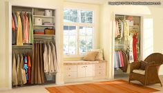Craft room/personal office window bench from EasyClosets.com. I'm already imagining the beautiful crafty things to fill the closets! (And is that a corduroy chair?)