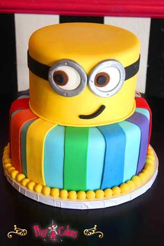 2 tier cake birthday boy girl minion dispicable me minions yellow rainbow colors