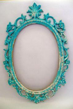 Large ornate frame aqua blue white undertones by AnitaSperoDesign, $130.00