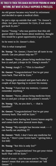 He Tries To Trick An Old Quack Doctor, But What Happens Instead Is Hilarious http://www.wimp.com/man-learns-important-lesson-when-tricking-doctor/