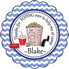 Camp Counselor Favor Gift Pop Corn Theme -12 Personalized Birthday Party Favor Stickers- Custom Labels Treat Favor Round Tags BeautyAndBrainsGirls http://www.amazon.com/dp/B01405XGCY/ref=cm_sw_r_pi_dp_J8A2vb0F2VBX3