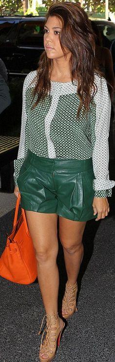 Kourtney Kardashian: Shorts – Gabby    Shirt – Raoul    Purse – Hermes    Shoes – Christian Louboutin