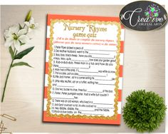 Shower Orange Bars Baby Shower Classic Nursery Rhymes Little Jack Horner NURSERY RHYME QUIZ, Pdf Jpg, Party Organizing - bs003 #babyshowergames #babyshower