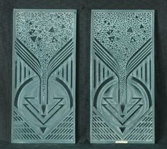 TWO ARTIST SIGNED LALIQUE ART GLASS PANELS. Height: 22 3/4 in. by Width: 11 in. by Depth: 3/4 in.