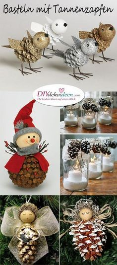 Christmas decorations tinker with pine cones - wonderful DIY ba .- Weihnachtsdeko basteln mit Tannenzapfen – Wundervolle DIY Bastelideen Tinker Christmas decorations with pine cones – wonderful DIY craft ideas - Unique Christmas Trees, Diy Christmas Ornaments, Christmas Decorations To Make, Christmas Projects, Kids Christmas, Holiday Crafts, Craft Decorations, Holiday Ideas, Christmas Crafts With Pinecones