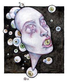 Unique : Art Print / Illustration / Goth / Dark Art / Strange / Fantasy / Occult / Surrealism / Witchy / Watercolor on paper