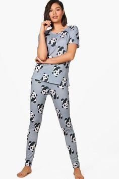 d1b58d56419 boohoo Lydia Panda PJ Set Satin Sleepwear